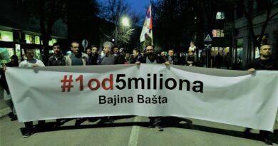 "Вечерас одржан шести протест ""1 од 5 милиона"""
