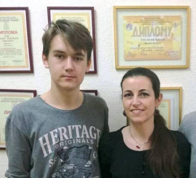 Јован Јанковић са професорком Јеленом Стојкановић